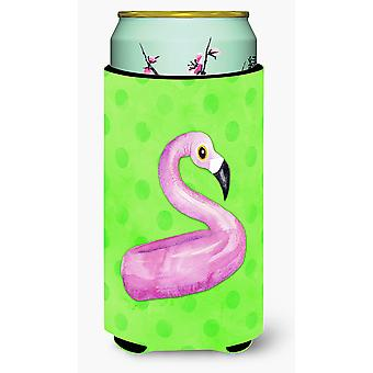 Flamingo Floaty Green Polkadot Tall Boy Beverage Insulator Hugger