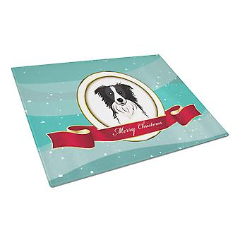 Border Collie Merry Christmas Glass Cutting Board Large