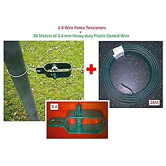 Wire Fence Tensioner 4 Pack and 26 M of 3.4 mm Plastic Coated Wire