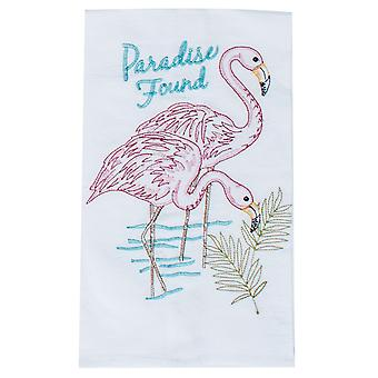 Paradise Found Pink Flamingos Embroidered Flour Sack Kitchen Dish Towel