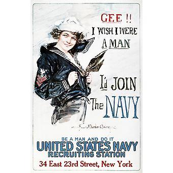 Eerste Wereldoorlog U.S. Marine 1917 Gee I Wish I waren een Man ID Join de Marine Amerikaanse World War I Poster door Howard Chandler Christy 1917 Poster Print by Granger collectie werven