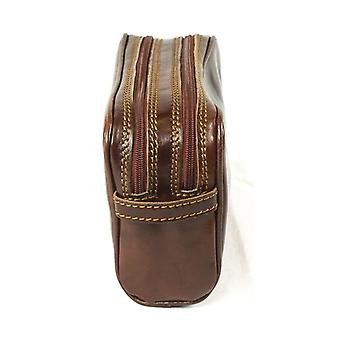 Genuine Italian Leather Luxury Wash Bag Travel Toiletry Twin Compartment Brown