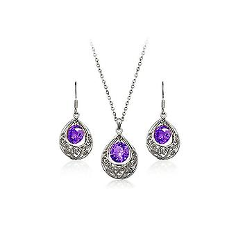 Womens Silver Purple Hollow Teardrop Jewellery Set Earrings And Necklace
