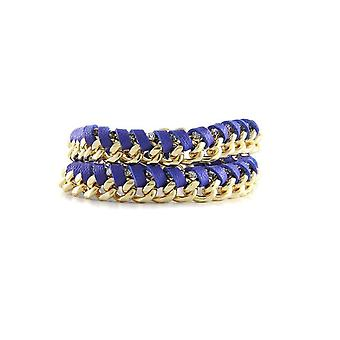 Ettika - Yellow Gold Bracelet, Crystal and Blue Braided Leather Ribbons 4407