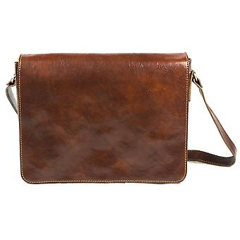 Genuine Italian Leather Messenger Laptop Crossbody Flapover Briefcase Large Bag