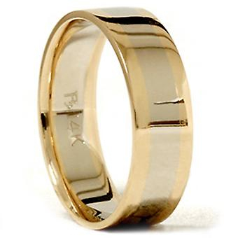 Mens Gold Plain Two Tone Comfort Fit Wedding Band 14K
