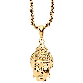 ORO LAMINADO moda naszyjnik - złota głowa Buddy