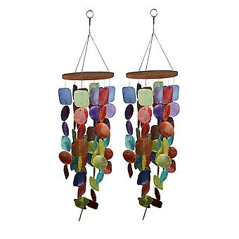 Set of Two 26 Inch Long Capiz Shell Hanging Wind Chimes