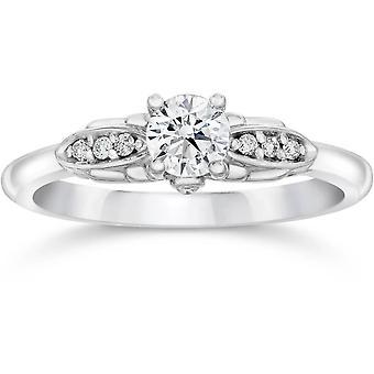 1 / 2ct diament Vintage pierścionek zaręczynowy 14K białe złoto