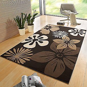 Flora de alfombra diseño terciopelo marrón | 102402