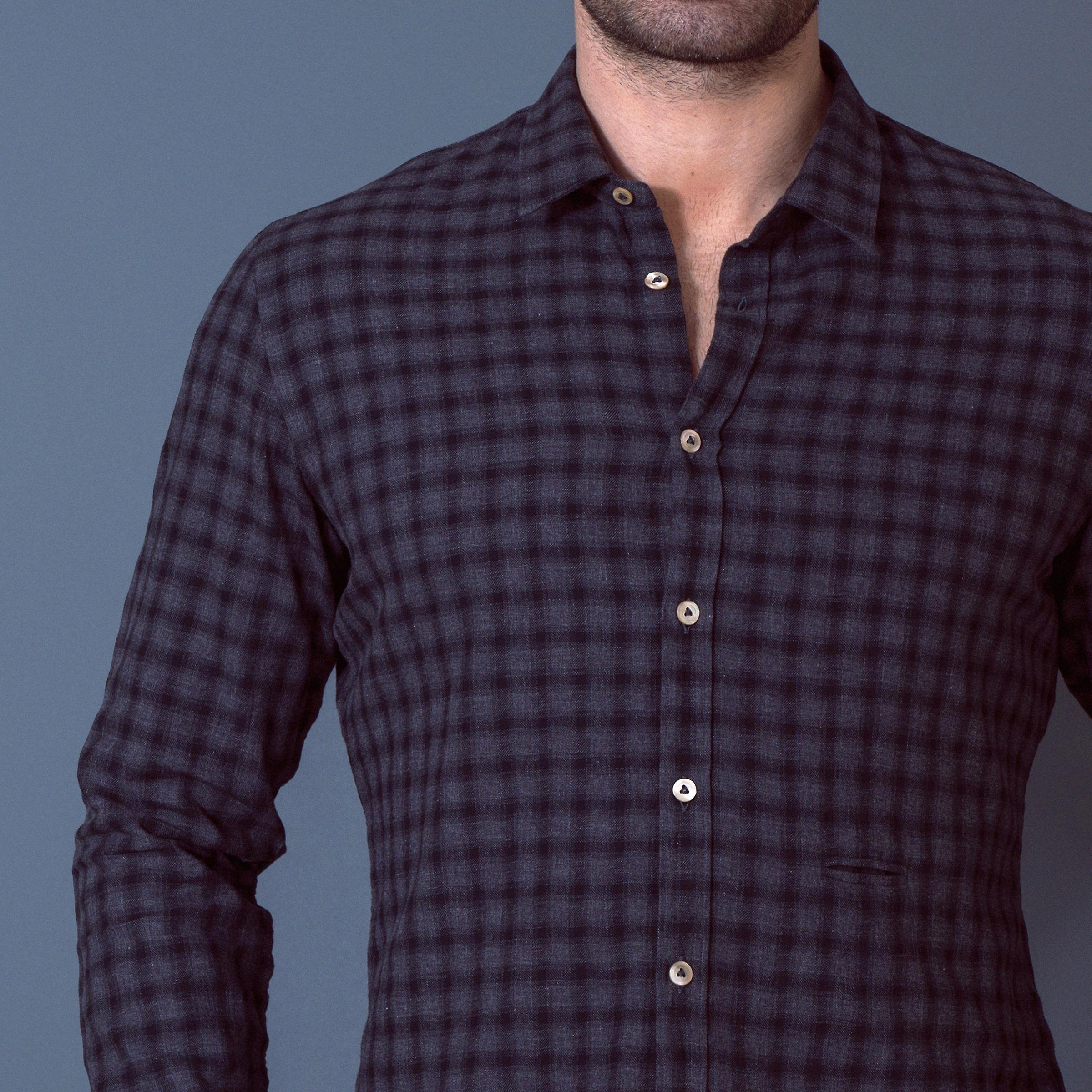 Fabio Giovanni Palermo Shirt - Lightweight Cotton Stylish Black & Charcoal Check Shirt