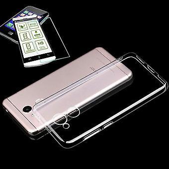 For Huawei honor 6C Pro Silikoncase TPU gjennomsiktig + 0,3 H9 glass bag tilfelle beskyttende deksel