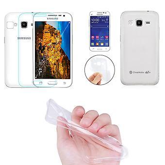 Núcleo da galáxia de Samsung Prime celular capa bolso ultra apenas 0,3 mm capa case luva casca fina + tanque de vidro real do vidro da tela de proteção