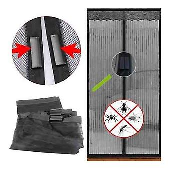 Magic Magnetic Door Curtain Mesh Bug Insect Mosquito Hands Fastening Fly Screen 90cm X 210cm - Black