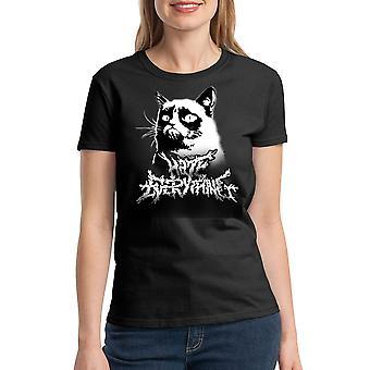 Grumpy Cat Metalcore Women's Black Funny T-shirt