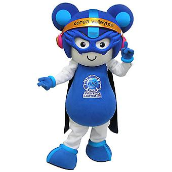 mascot blue and white mouse in futuristic outfit SPOTSOUND