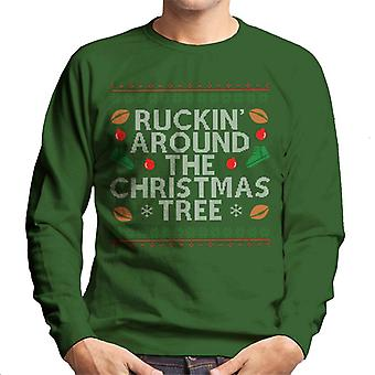 Rugby Ruckin intorno il Natale albero felpa