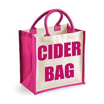 Medium Pink Jute Bag Cider Bag