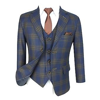 Flamingo Boys Navy Brown Slim Fit Check Print Suit