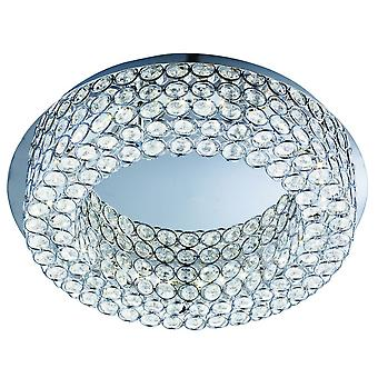 Vesta Chrome And Crystal Glass Round LED Flush Fitting With Mirror Centre - Searchlight 4291-54CC