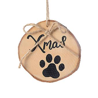 TRIXES 2PC Wooden Cat Paw Xmas Decorations Gift Tags with Twine for Pets