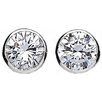 Bella 8mm Cubic Zirconia Rubover Stud Earring - Silver/White