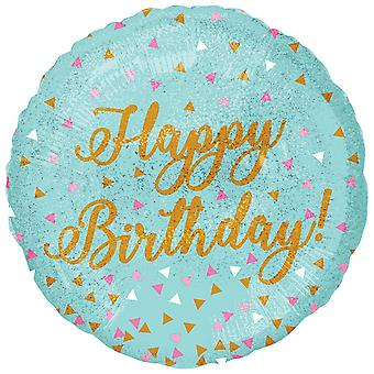 Anagram 18in Happy Birthday! Round Holographic Sparkles Foil Balloon