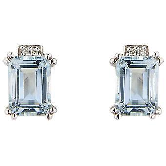 Mark Milton Diamond and Aquamarine Earrings - Light Blue/Silver