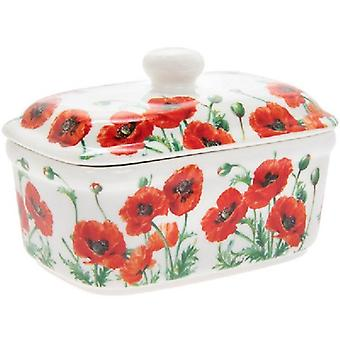 Poppy Field Floral Fine China Butter Dish Gift Box Kitchen