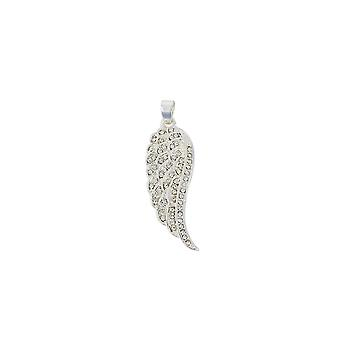 Belle & Beau hopeoitu Pave Crystal Angel Wing riipus
