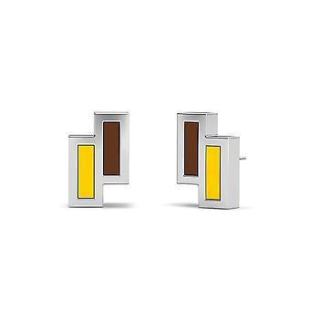 Brincos de esmalte assimétricos da Universidade de Valparaiso em marrom e amarelo