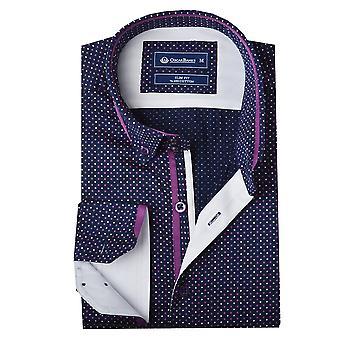 Oscar Banks Square Print Button Down Collar Mens Shirt