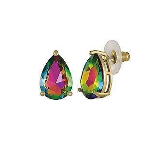 Eternal Collection Seduction Teardrop Green Vitrail Crystal Gold Tone Stud Pierced Earrings