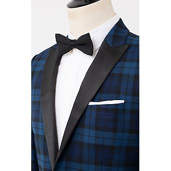Dobell mens blauw 2 stuk tartan Tuxedo regular fit contrast piek revers