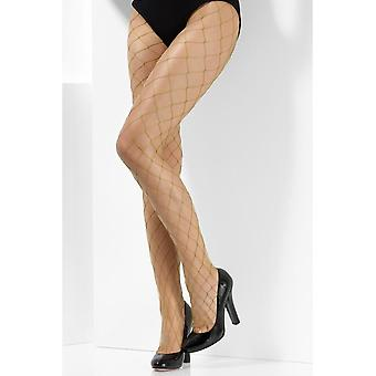 Khaki Diamond Net Tights, Fever Hosiery, UK Size 6-18
