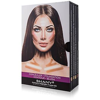 SHANY 4-laags contour en highlight make-up kit-set van concealer/kleur corrector, Stichting, contour/highlight, en Blush paletten