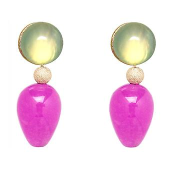 Orecchini Gemshine seagreen chalcedons rosa giada goccia di pietre placcate