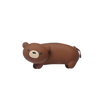 Bear Silicone Pencil Case in Brown