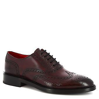 Leonardo skor män ' s handgjorda Oxford brogues skor i Burgundy kalvläder