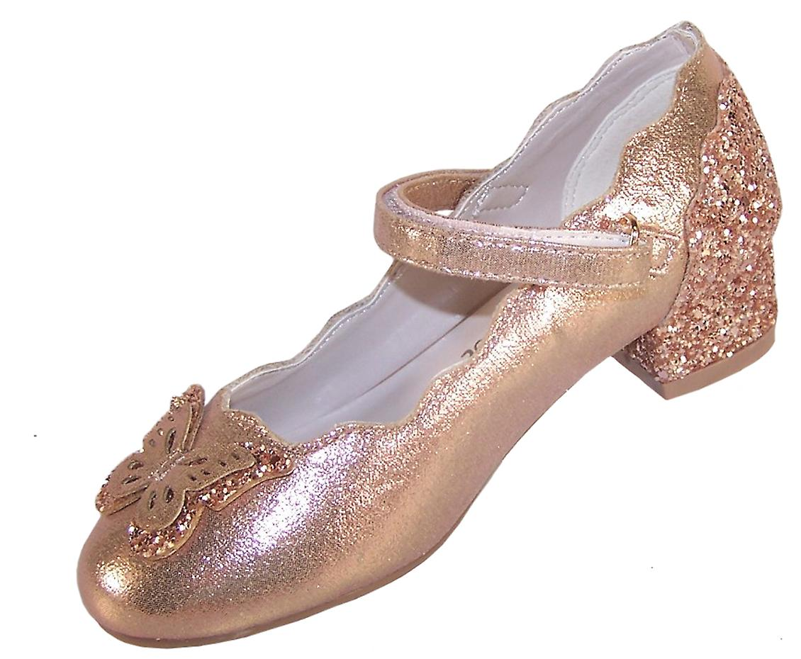 Girls rose gold sparkly low heeled party shoes