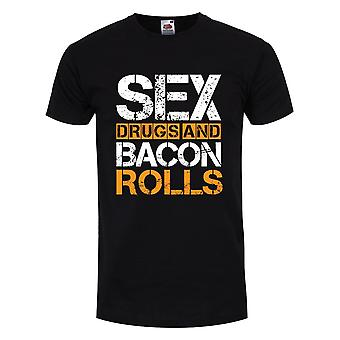 Grindstore Mens Sex Drugs and Bacon Rolls T Shirt