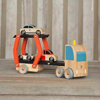 Classic World - Wooden Double Deck Car Transporter Push Along Toy with Removable Cars, Trailer and Collapsible Ramp.