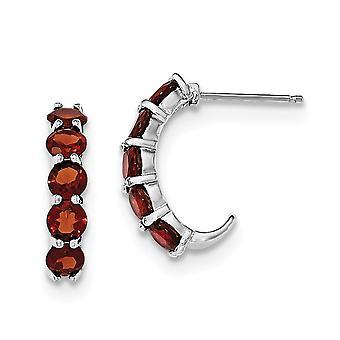 925 Sterling Silver Garnet J hoepel Oorbellen Sieraden Geschenken voor vrouwen