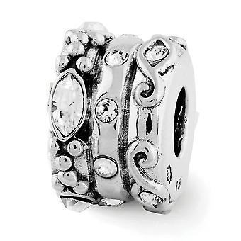 925 Sterling Silver Reflections Crystal Fancy Bali Bead Charm colgante colgante collar regalos de joyería para las mujeres