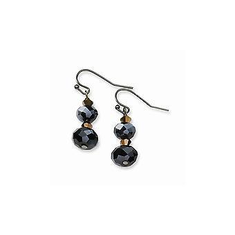 Gancho de pastor negro plateado negro marrón oscuro cristal perla larga gota colgante pendientes regalos de joyería para las mujeres