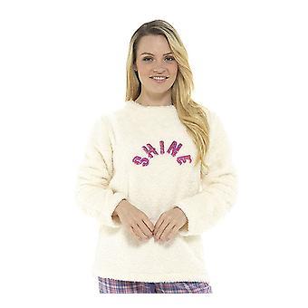 Damen Bestickte Pailletten Slogan Design Fleece Loungwear Top 16-18 Creme