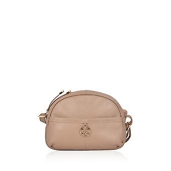 Cartmel Curved Leather Cross Body Bag à Taupe