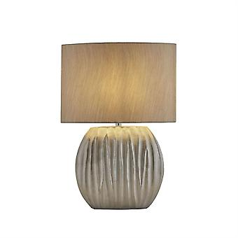 Searchlight Zenna 1 Light Table Lamp Silver, Silver Shade 5027SI