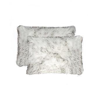 "12"" x 20"" x 5"" Gradient Gray Faux  Pillow 2 Pack"