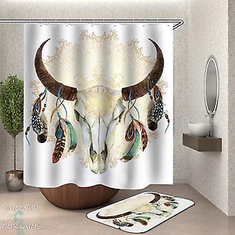 美洲原住民公牛骷髅淋浴窗帘